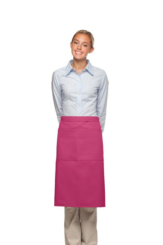 Hot Pink 2 Pocket Three Quarter Bistro Apron