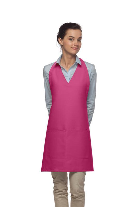Hot Pink 2 Pocket V-Neck Tuxedo Bib Apron