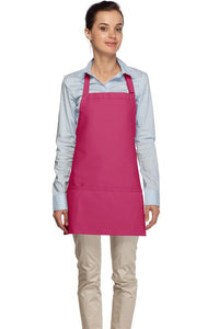 Hot Pink 3 Pocket Bib Apron