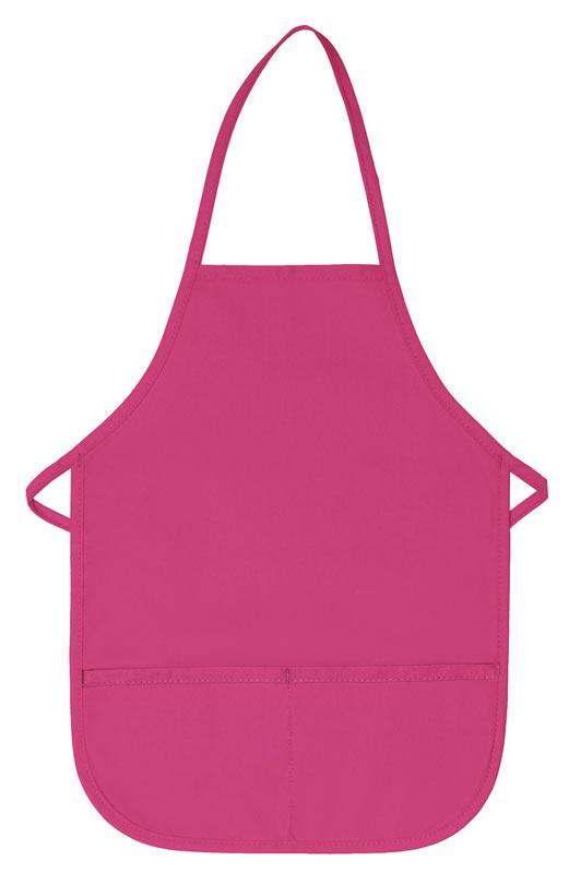 Hot Pink Kid's XL Bib Apron (2 Pockets)