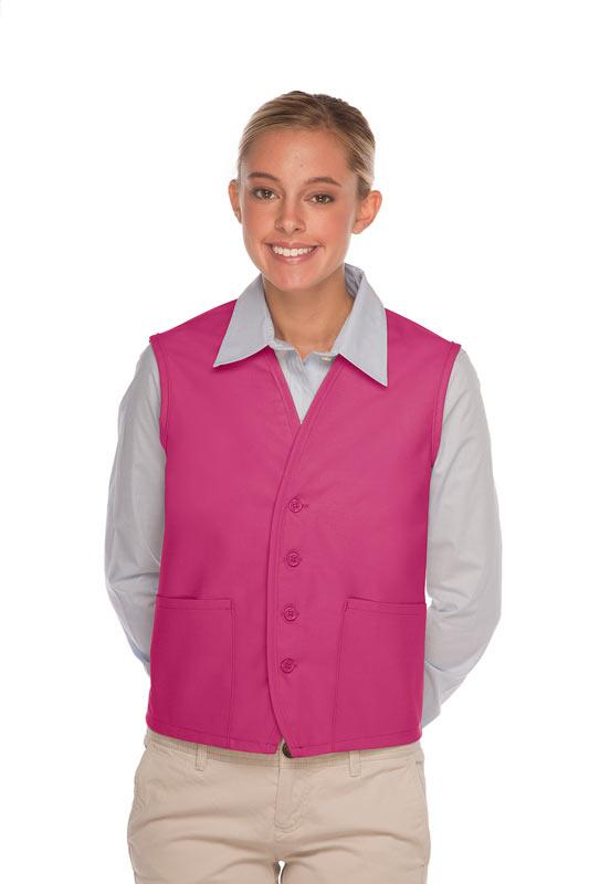 Hot Pink 4-Button Unisex Vest with 2 Pockets