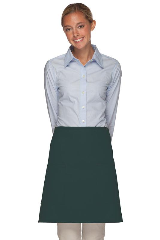 Hunter Green 2 Patch Pocket Half Bistro Apron