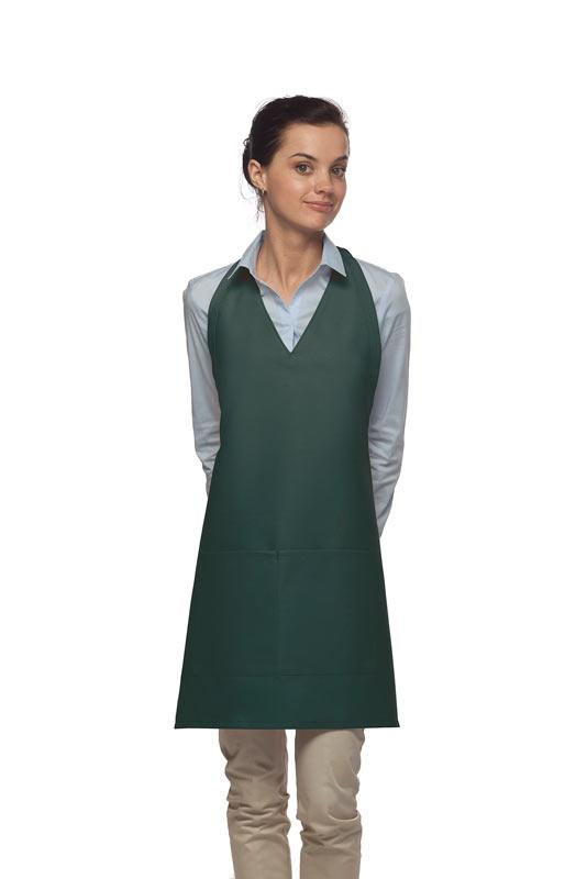 Hunter Green 2 Pocket V-Neck Tuxedo Bib Apron