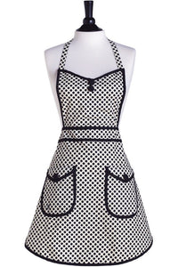 White & Black Deco Dot Audrey Apron