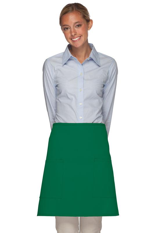 Kelly Green 2 Patch Pocket Half Bistro Apron