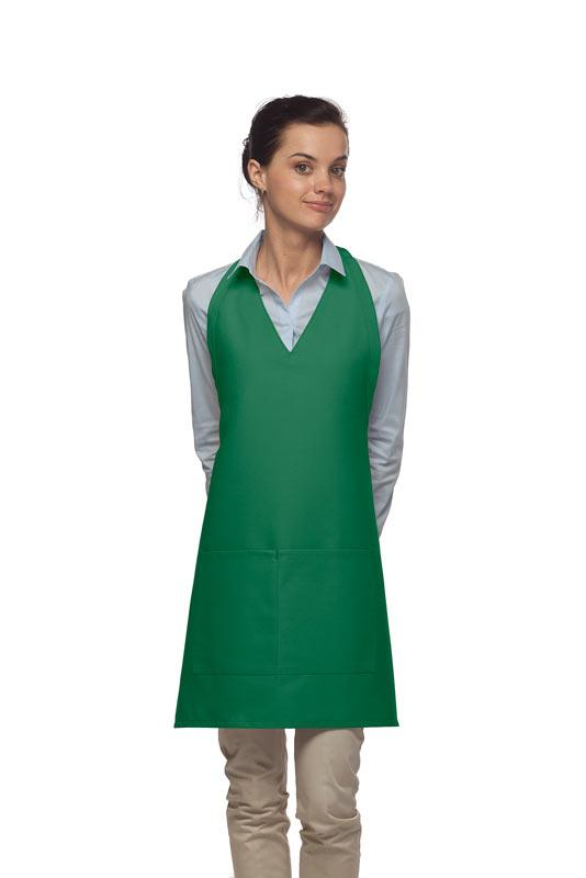 Kelly Green 2 Pocket V-Neck Tuxedo Bib Apron