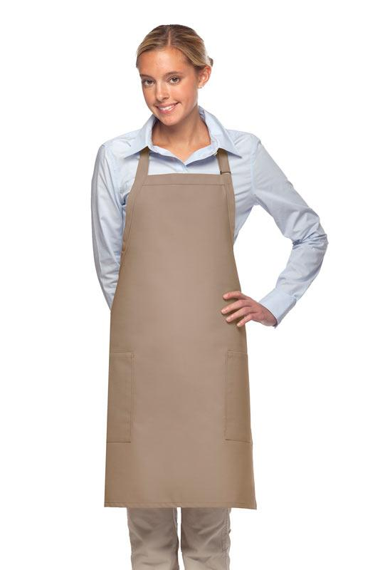 Khaki 2 Patch Pocket Adjustable Bib Apron