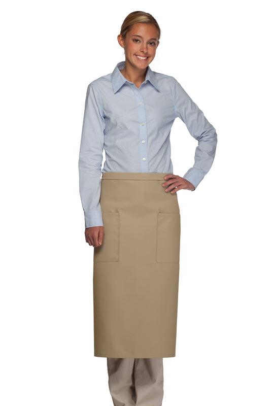 Khaki 2 Patch Pocket Full Bistro Apron