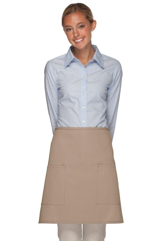 Khaki 2 Patch Pocket Half Bistro Apron