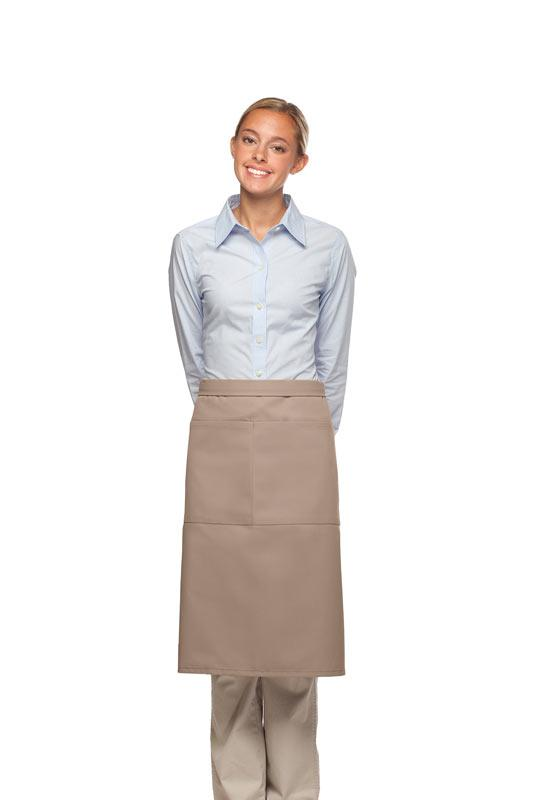Khaki 2 Pocket Three Quarter Bistro Apron