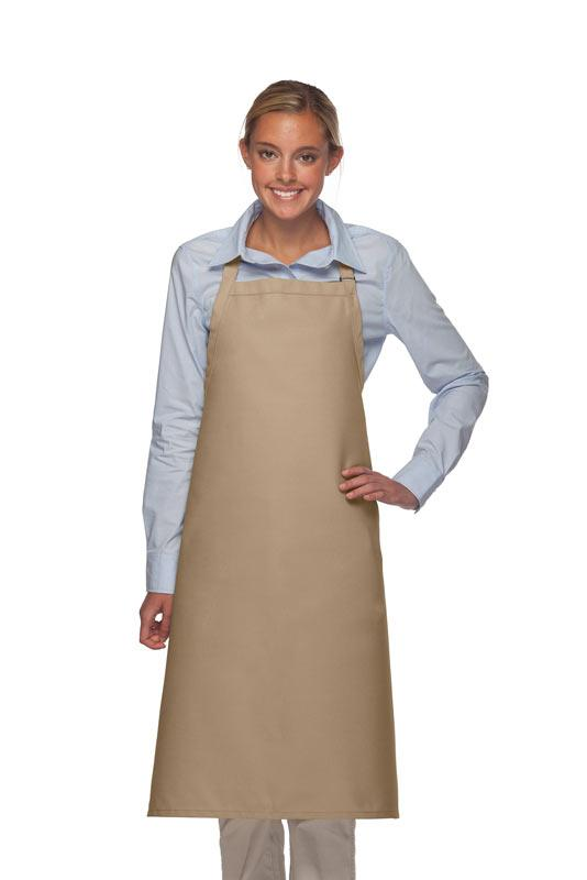 Khaki No Pocket Adjustable XL Butcher Apron