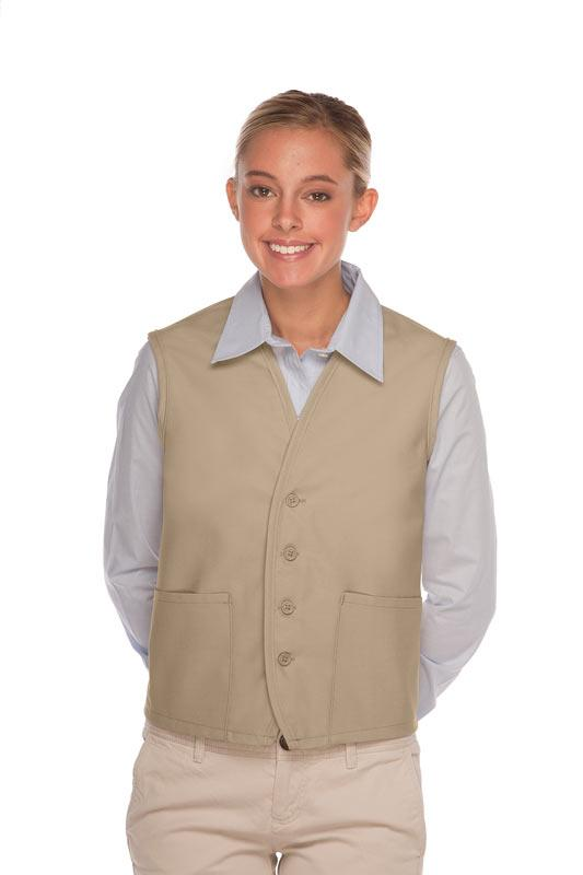 Khaki 4-Button Unisex Vest with 2 Pockets
