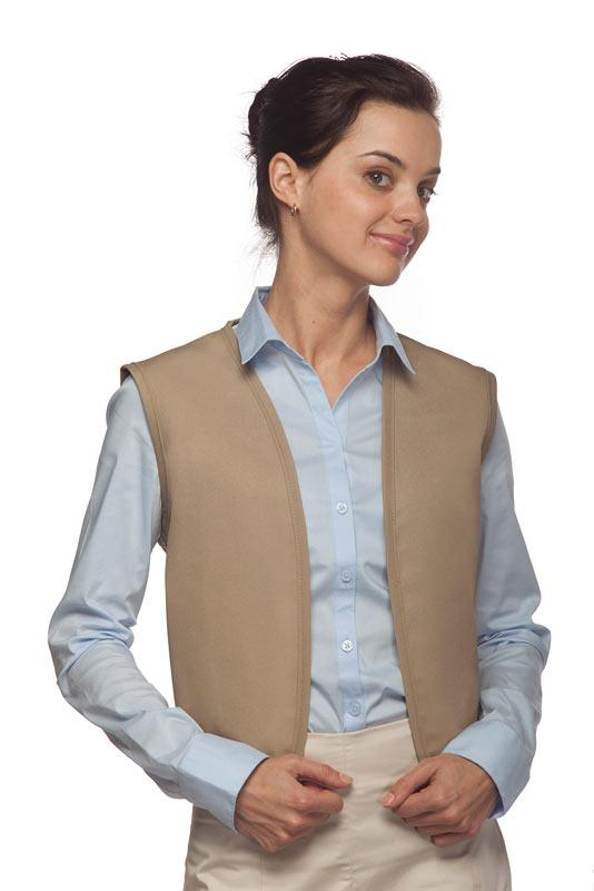 Khaki No Buttons Unisex Vest with No Pockets