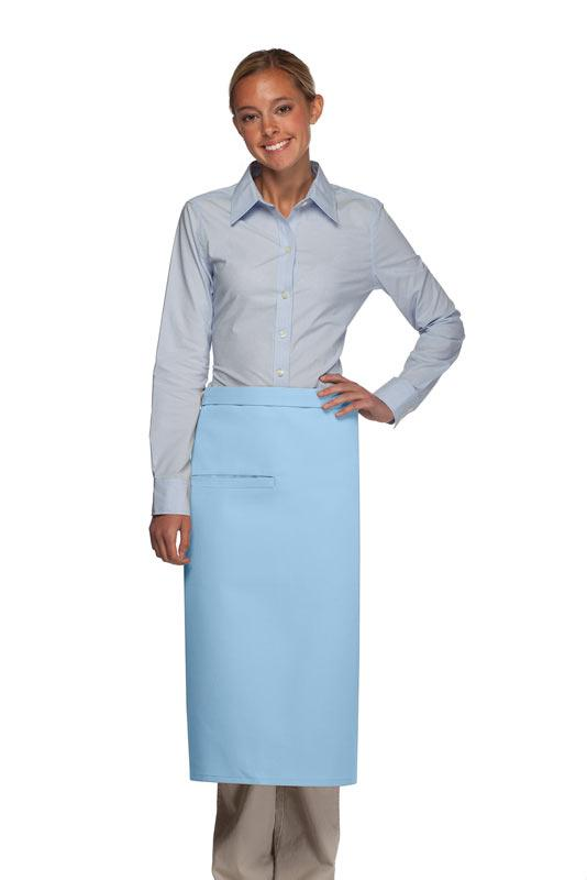 Light Blue 1 Inset Pocket Full Bistro Apron