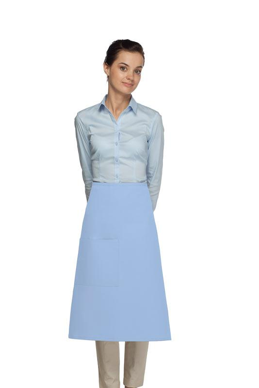 Light Blue 3/4 Bistro Apron (1 Pocket)