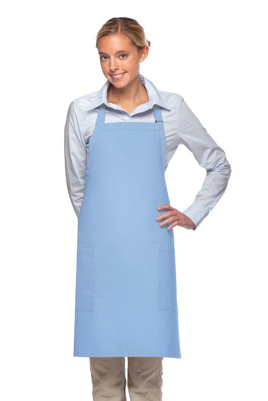 Light Blue 2 Patch Pocket Adjustable Bib Apron