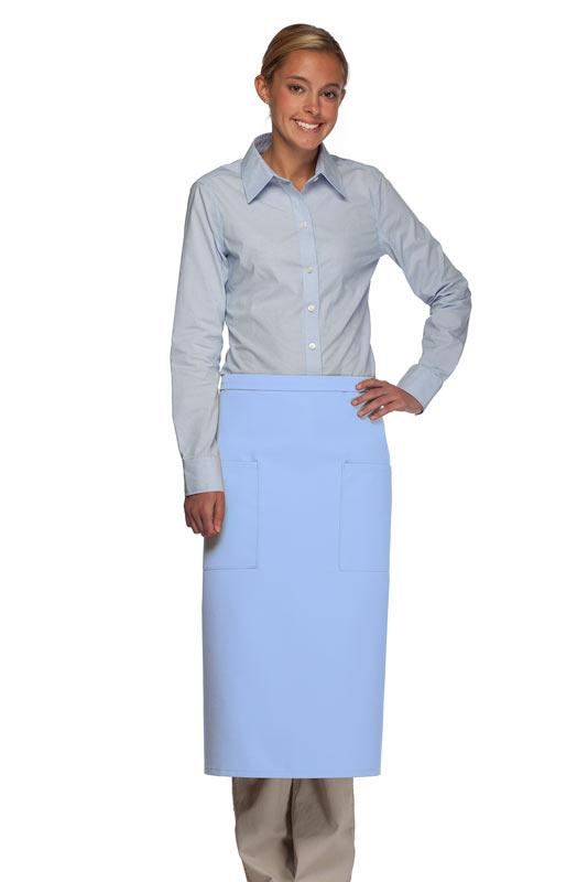 Light Blue 2 Patch Pocket Full Bistro Apron