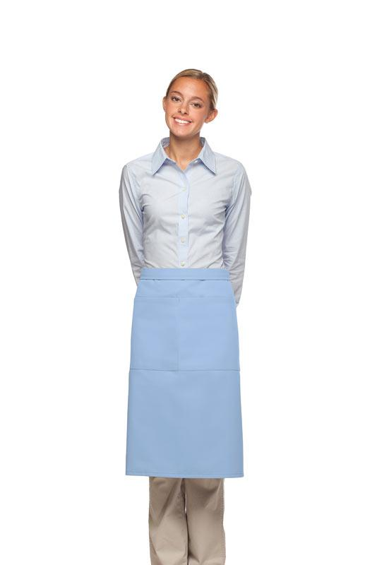 Light Blue 2 Pocket Three Quarter Bistro Apron