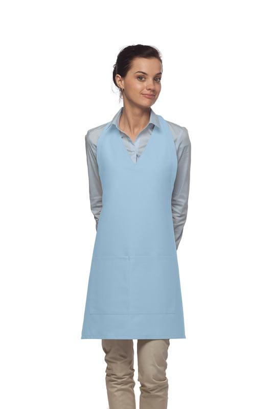 Light Blue 2 Pocket V-Neck Tuxedo Bib Apron