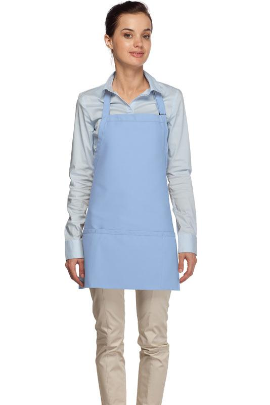 Light Blue 3 Pocket Bib Apron