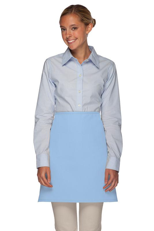 Light Blue No Pocket Half Bistro Apron