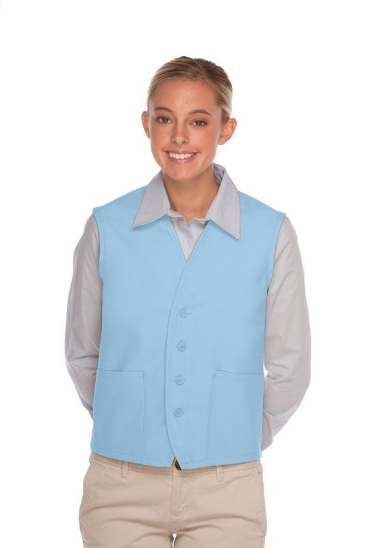Light Blue 4-Button Unisex Vest with 2 Pockets