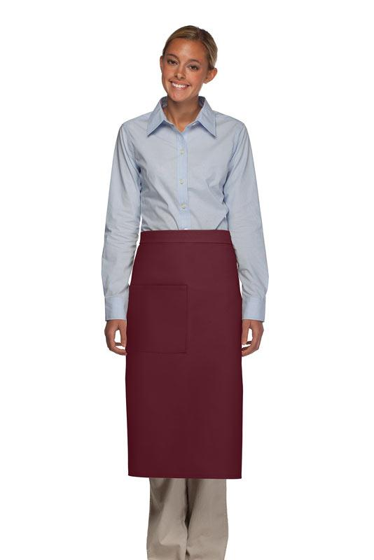 Maroon 1 Pocket Full Bistro Apron