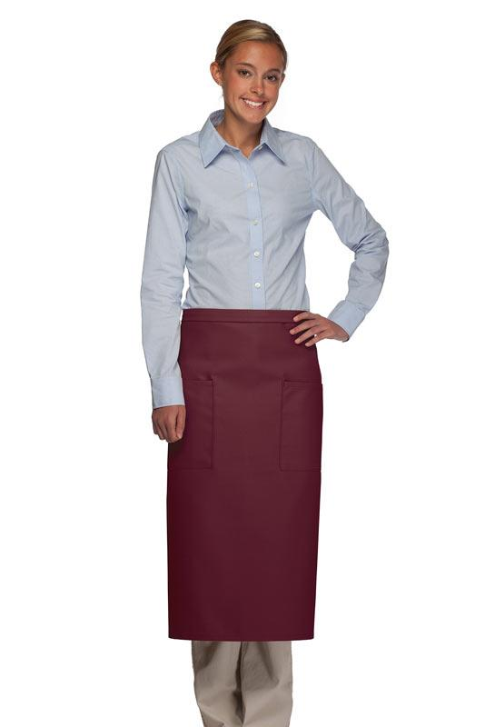 Maroon 2 Patch Pocket Full Bistro Apron
