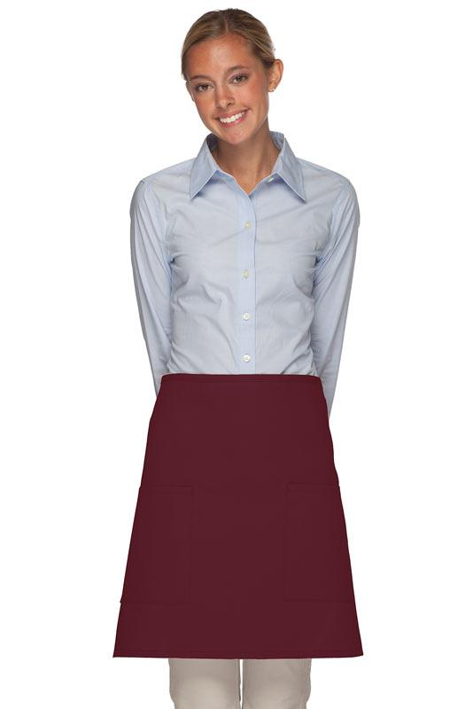 Maroon 2 Patch Pocket Half Bistro Apron