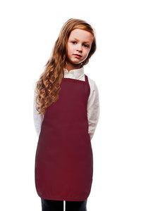 Maroon Kids No Pocket Bib Apron