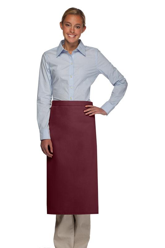 Maroon No Pocket Full Bistro Apron