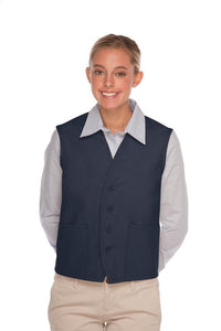 Navy 4-Button Unisex Vest with 2 Pockets