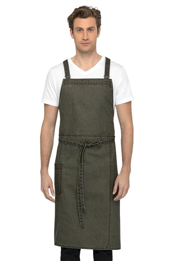 Denver Chef's Cross-Back Olivewood Bib Apron