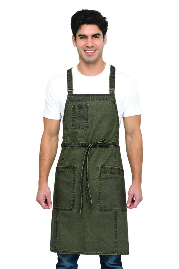 Denver Cross-Back Olivewood Bib Apron