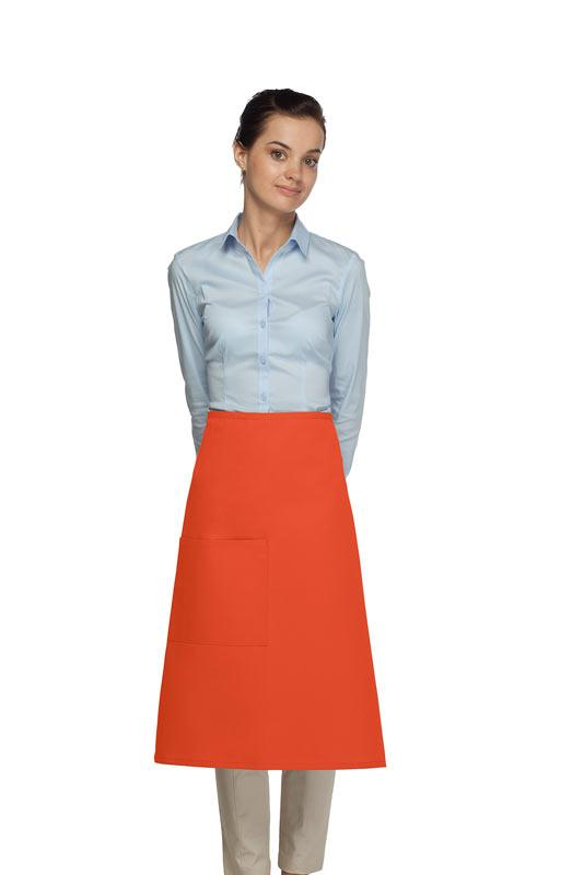 Orange 1 Pocket Three Quarter Bistro Apron