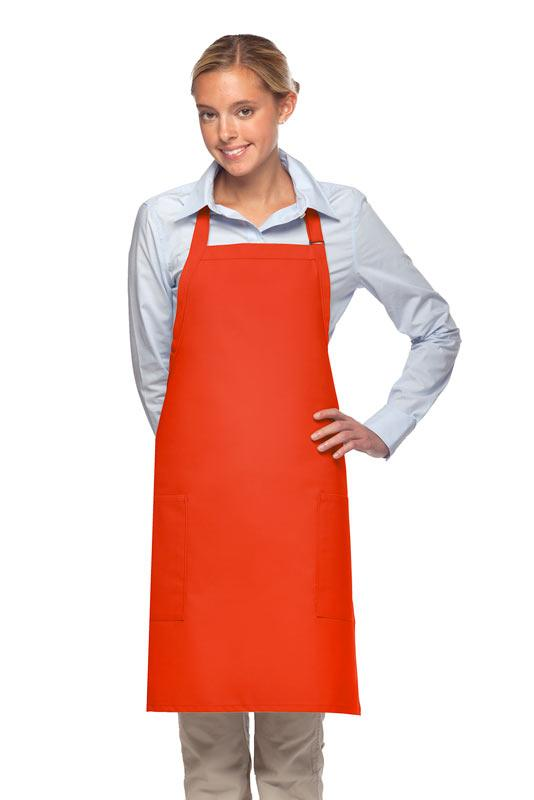 Orange 2 Patch Pocket Adjustable Bib Apron