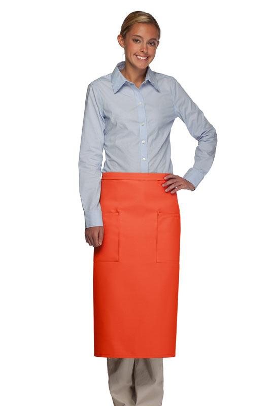 Orange 2 Patch Pocket Full Bistro Apron