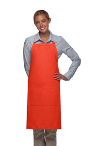 Orange 2 Pocket Adjustable Bib Apron