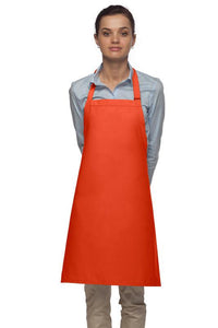 Orange No Pocket Adjustable Bib Apron