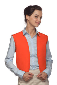 Orange No Buttons Unisex Vest with No Pockets