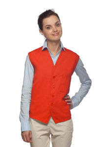 Orange 4-Button Unisex Vest with 1 Pocket