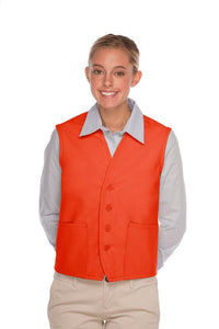 Orange 4-Button Unisex Vest with 2 Pockets