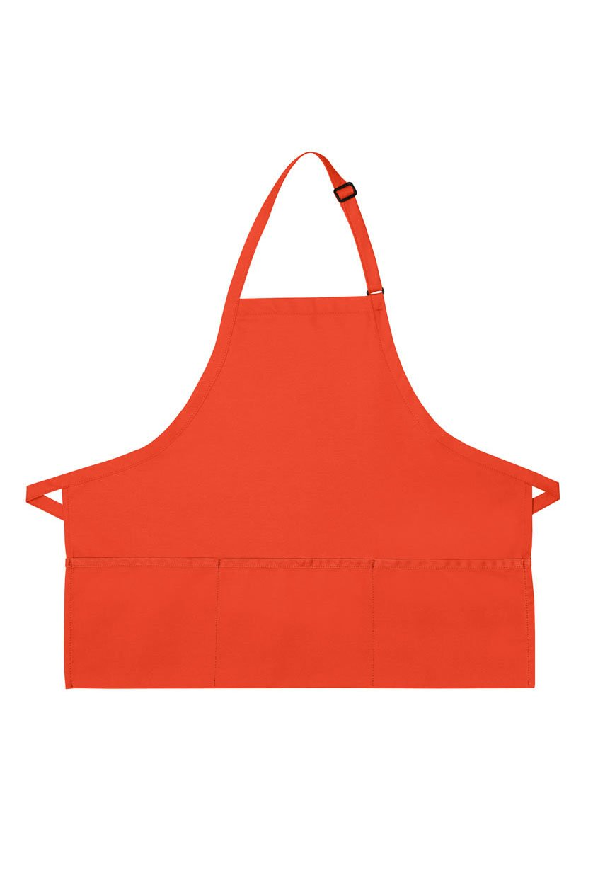 Orange Deluxe Bib XL Adjustable Apron (3 Pockets)
