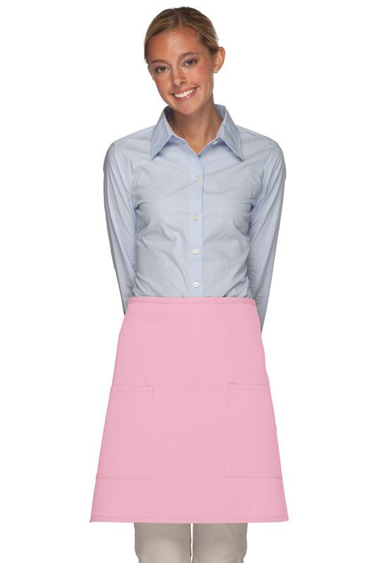 Pink 2 Patch Pocket Half Bistro Apron