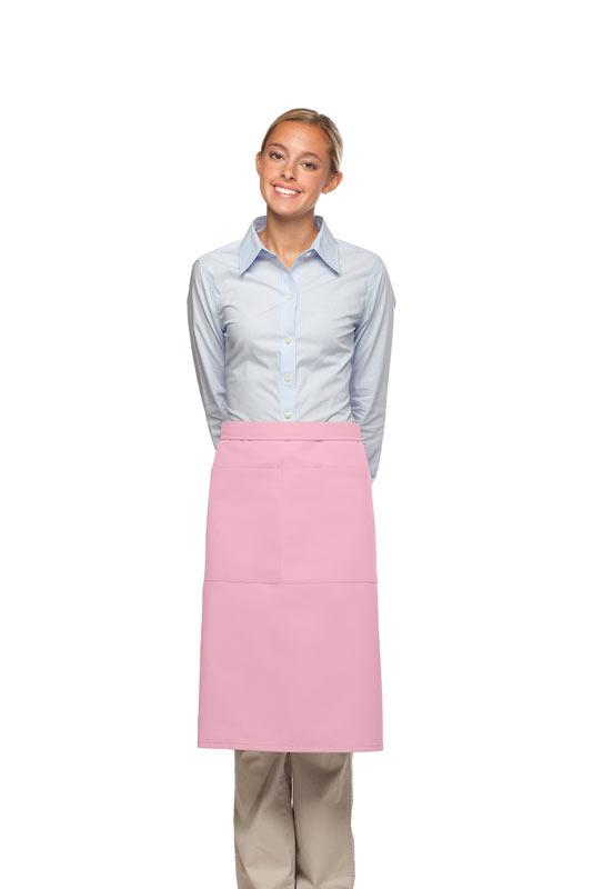 Pink 2 Pocket Three Quarter Bistro Apron