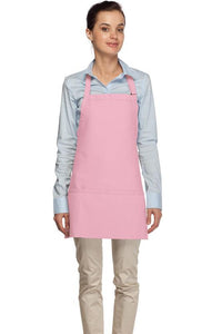 Pink 3 Pocket Bib Apron