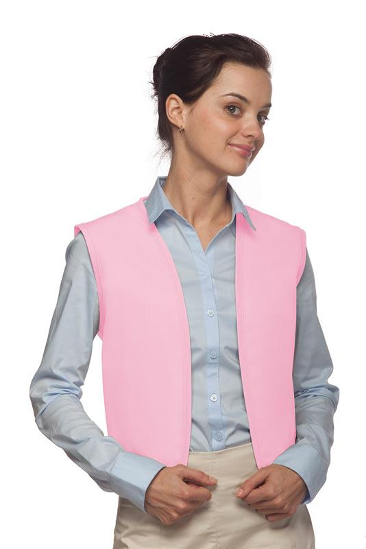 Pink No Buttons Unisex Vest with No Pockets