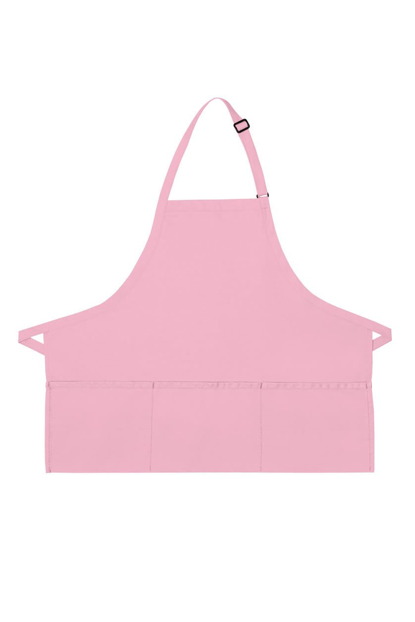 Pink Deluxe Bib XL Adjustable Apron (3 Pockets)