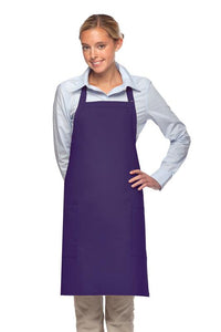 Purple 2 Patch Pocket Adjustable Bib Apron