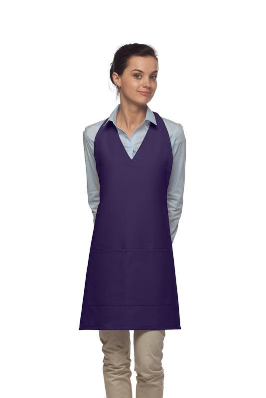 Purple 2 Pocket V-Neck Tuxedo Bib Apron